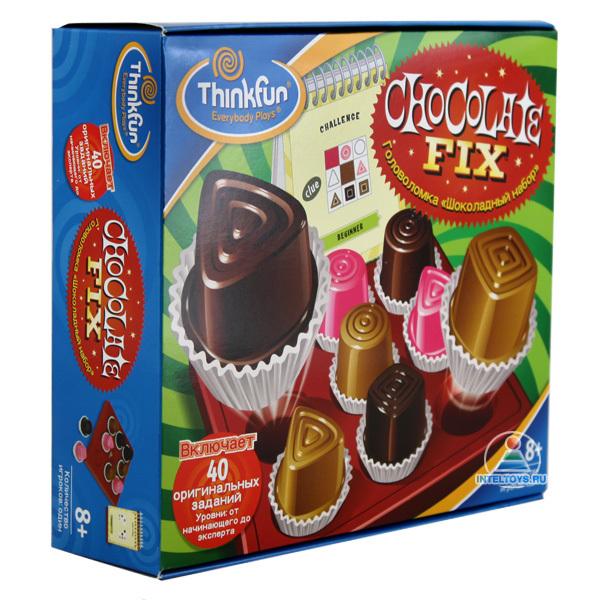 Thinkfun Игра-головоломка Шоколадный наборИгра-головоломка Шоколадный наборThinkfun Игра-головоломка Шоколадный набор - весьма грамотное сочетание веселья и задора, развлечения и развития, созданное специально для вас и ваших дорогих любителей головоломок!   Порадуйте себя и свое драгоценное чадо столь интересным, увлекательным и занимательным подарком, как игра-головоломка, которая развивает мелкую моторику, сообразительность и пространственно-логическое мышление.  Правила игры: Входящий в набор игры блокнот содержит 40 заданий-меню четырёх уровней сложности - начинающий, продвинутый, опытный и эксперт На каждый уровень сложности приходится 10 карточек На обратных сторонах карточек приведены решения соответствующих заданий  На каждой картинке приведено задание в виде картинок с расположением цветных конфет Необходимо логически догадаться, в каких столбцах какие конфеты располагаются Останется определить вид фигур-конфет. Для этого на карточке задания есть картинки, которые подсказывают расположение различных фигур-конфет Логически сопоставив цвет конфет и фигуры конфет, попробуйте расположить конфеты на игровом поле  Проверьте правильность своего решения, сравнив его с подсказкой  В комплекте:  Игровое поле: 1 шт Разноцветные шоколадные конфеты: 9 шт Блокнот с заданиями в виде меню: 1 шт Фирменный мешочек для хранения элементов игры<br>