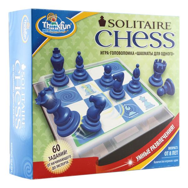 Thinkfun Игра-головоломка Шахматы для одногоИгра-головоломка Шахматы для одногоThinkfun Игра-головоломка Шахматы для одного - увлекательная настольная игра-головоломка, играя в которую Вы поймёте принципы передвижения шахматных фигур по шахматной доске, научитесь составлять многоходовые комбинации. Различные уровни сложности делают головоломку интересной как детям так и взрослым.  Карточки с заданиями удобно хранить в специальном отсеке, расположенном под игровым полем. Шахматные фигуры хранятся в пластиковом контейнере, который подсоединяется к игровому полю.  Особенности: Карточки содержат 60 заданий четырёх уровней сложности - начинающий, средний, продвинутый и эксперт На каждый уровень сложности приходится 15 карточек Во время решения заданий будут использоваться шахматные фигуры 6-ти видов. Ходы фигур подчиняются шахматным законам Однако, если пешка достигает верхней границы игрового поля, она не превращается в другую фигуру Игрок выбирает карточку с заданием и располагает её под игровым полем. Шахматные фигуры расставляются на игровом поле в соответствии со схемой.  Игра начинается Каждый ход фигуры должен заканчиваться съеданием другой фигуры В конечном итоге на игровом поле должна остаться только одна фигура В случае, если на игровом поле присутствует фигура короля, это именно та фигура, которая должна остаться последней. На последней странице буклета приведены подсказки и решения всех заданий  В комплекте:  Игровое поле Шахматные фигуры: 10 шт Двухсторонние карточки с заданиями: 30 шт Правила игры<br>