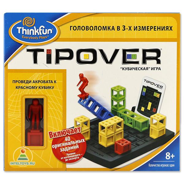 Thinkfun Игра-головоломка Кубическая головоломка TipoverИгра-головоломка Кубическая головоломка TipoverThinkfun Игра-головоломка Кубическая головоломка Tipover для одного игрока - оригинальная логическая игра, развивающая пространственное мышление.  Правила игры: Предстоит решить 40 заданий 4-х уровней сложности - начинающий, продвинутый, опытный и эксперт, по 10 карточек в каждом уровне сложности На обратной стороне карточек приведены ответы на соответствующее задание  В начале игры на игровом поле расставляются разноцветные башни в соответствии со схемой задания, представленной на карточке Красная метка на картинке указывает место старта акробата Акробат может перемещаться только по башням, спускаться на землю запрещено Цель игрока - провести акробата к красному кубику Находясь на вершине башни, акробат может опрокинуть башню в любую сторону, главное, чтобы для неё было достаточно места Акробат может переходить с башни на башню, подниматься на вершину стоящей башни или спускаться с ней на башню более низкой высоты. Акробат не может перепрыгивать с башни на башню. Акробат не может прыгать по диагонали   В комплекте:  Правила игры Игровое поле Разноцветные башни различной высоты Фигурка акробата Красный кубик Карточки с заданиями: 40 шт Кешочек для хранения элементов игры<br>
