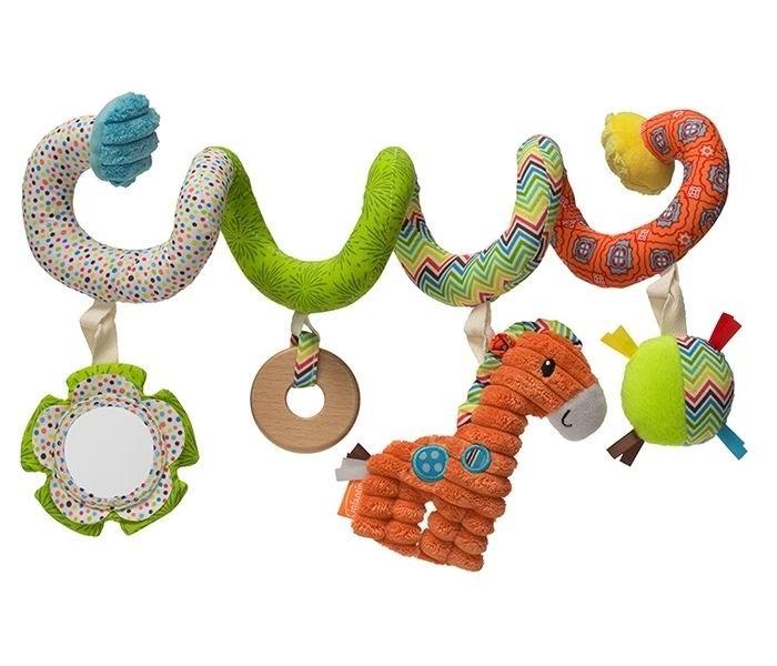 Infantino Развивающая растяжка СпиралькаРазвивающая растяжка СпиралькаМягкая развивающая Спиралька легко накручивается на бампер коляски и переносную ручку люльки или автокресла.  На Спиральке малыша развлекут 4 раскачивающиеся игрушки с погремушкой, шуршалками, деревянным колечком и безопасным зеркальцем.  Жирафика из объемной фактурной ткани в рубчик непременно захочется поймать и потрогать ручками, а в цветочке-зеркальце найти и внимательно изучить свое отражение.  Контрастные цвета Спиральки помогут развитию визуального восприятия малыша, а мягкие плюшевые и объемные ткани с разной фактурой деликатно стимулируют его тактильные ощущения.   Колечко, выполненное из натурального дерева, удобно для захвата и удержания детскими ручками и предназначено для облегчения зуда нежных десен малыша.   Игрушка полностью безопасна, не содержит бисфенол-А и поливинилхлорид.<br>