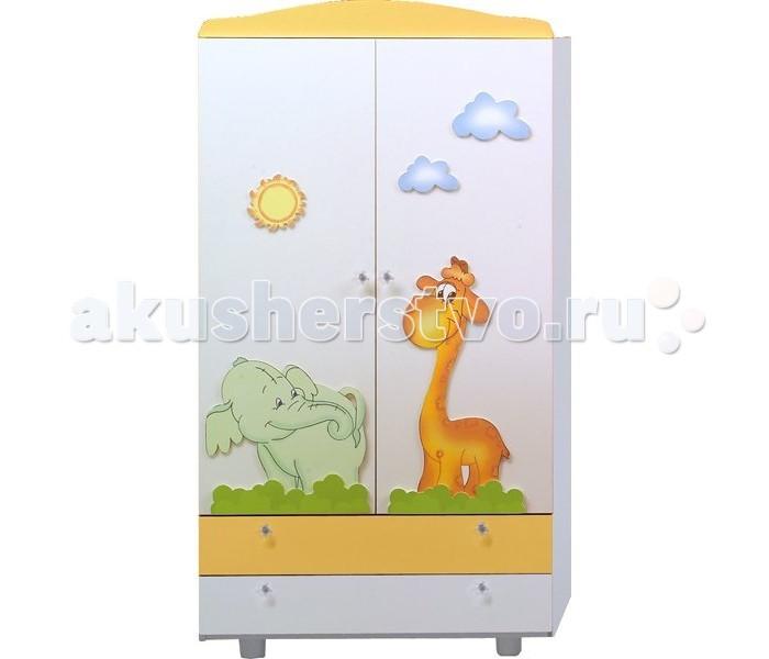 Шкаф Baby Italia LucyLucyКлассический двустворчатый шкаф от Baby Italia с легкостью впишется в детскую комнату. В шкафу все самое необходимое: кронштейн для вешалок, вместительные ящики. Вся одежда будет на своих местах.   Характеристики: покрыта натуральными и нетоксичными лаками приятная, веселая расцветка соответствует всем европейским стандартам безопасности и не имеет острых углов или деталей хорошо прилегающие закрытые шурупы и болты – отсутствие царапин и мелких травм у детей большая перекладина для вешалок два выдвижных ящика удобные эргономичные ручки 4 ножки пространство между дном шкафа и полом позволяет осуществлять влажную уборку без необходимости передвигать его  Размеры 59х94х175 см<br>
