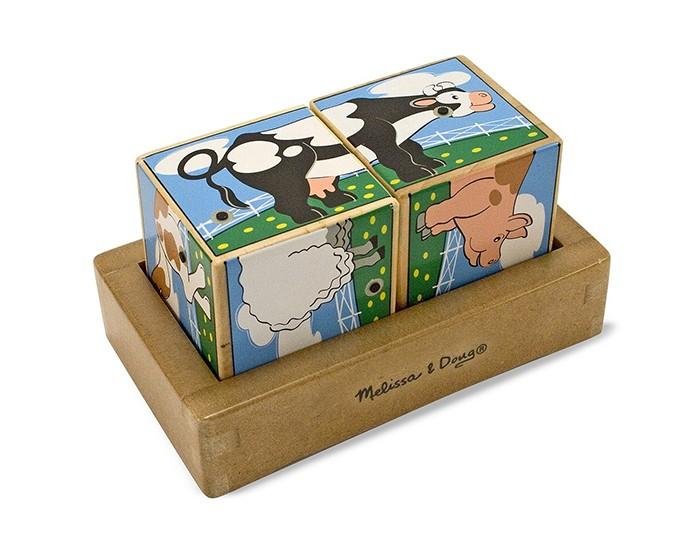 Развивающая игрушка Melissa &amp; Doug Звуковые пазлы Кубики ФермаЗвуковые пазлы Кубики ФермаЗвуковые пазлы Melissa & Doug Кубики Ферма представляет собой развивающий набор из двух больших кубов.   Сложите картинки с изображение животного, обитающего на ферме. Если ребенок правильно соберет картинку, то раздастся звук, который издает изображенное на картинке животное.   Компания Melissa&Doug придерживается самых высоких стандартов качества и безопасности детских образовательных продуктов для детей. Melissa & Doug - это один из ведущих брендов деревянных игрушек, используемые компанией покрытия и красители нетоксичны.<br>