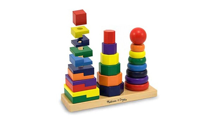 Деревянная игрушка Melissa &amp; Doug Геометрическая пирамидкаГеометрическая пирамидкаГеометрическая пирамидка Melissa & Doug  Комбинируйте и надевайте 25 красочных деревянных частей на три стержня. Кольца, восьмиугольники и прямоугольники – соедините их в увлекательные комбинации! Отлично развивает навыки распознавания цветов, размеров и форм.<br>