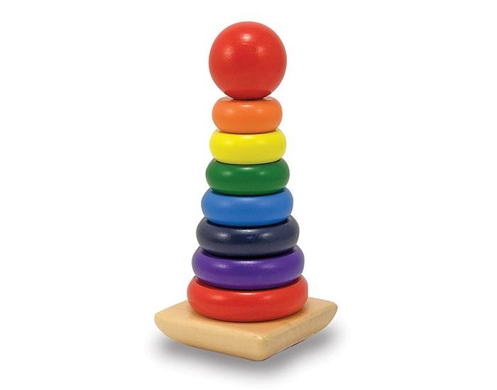 Деревянная игрушка Melissa &amp; Doug Радужная пирамидкаРадужная пирамидкаРадужная пирамидка Melissa & Doug  На этих восьми гладких деревянных частях представлен весь цветовой спектр. Надевайте их на твердую деревянную основу.<br>