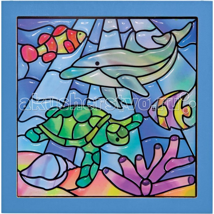 Melissa &amp; Doug Мозаика витраж Подводная фантазияМозаика витраж Подводная фантазияМозаика-витраж Melissa & Doug Подводная фантазия   В этом творческом наборе есть все для того, чтобы создать яркий и красочный витраж!  Похожие на драгоценные камни по форме, элементы изображают морских обитателей.  Поместите готовую картинку на окно и вы увидите, как композиция замерцает под солнечными лучами!<br>