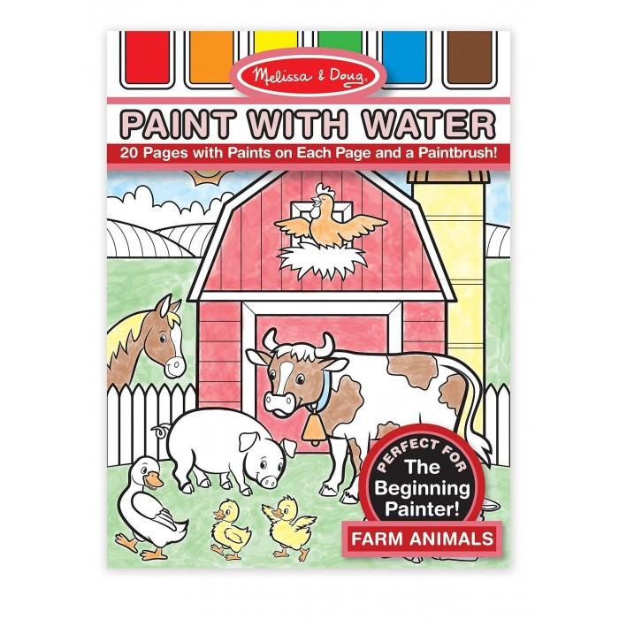 Раскраска Melissa &amp; Doug Рисуем водой ФермаРисуем водой ФермаРисуем водой Melissa & Doug Ферма  Этот альбом иллюстрированных раскрасок станет замечательным подарком юному художнику. В нём есть краски-палитры, на которые нужно добавить немножко воды, и можно рисовать свои шедевры.<br>