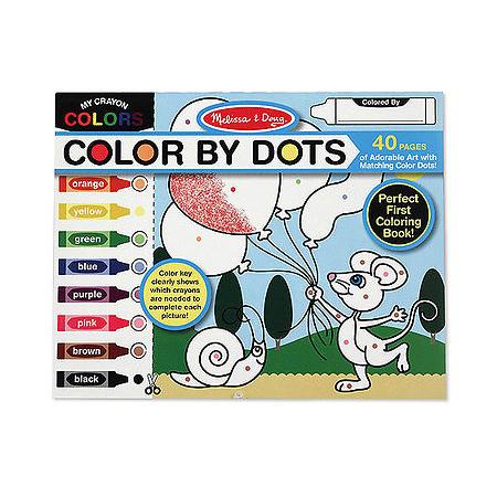 Раскраска Melissa &amp; Doug Раскрась по цветам Забавные животныеРаскрась по цветам Забавные животныеРаскраска Melissa & Doug Забавные животные  На каждой страничке слева нарисованы разноцветные фломастеры, а на самом рисунке области раскрашивания помечены цветными точками-подсказками, которые показывают каким цветом надо закрашивать.   В раскраске 40 страниц, рисунки на которых становятся более сложными.<br>