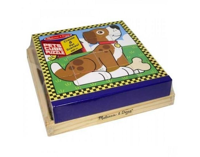 Развивающая игрушка Melissa &amp; Doug Пазл из кубиков Домашние животныеПазл из кубиков Домашние животныеПазл из кубиков Melissa & Doug Домашние животные  Шесть пазлов в одном! Этот уникальный пазл состоит из 16 деревянных кубиков. На одной части кубика изображено одно животное. Поворачивайте кубики на деревянной панели, чтобы собрать шесть различных изображений животных!<br>