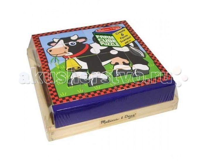 Развивающая игрушка Melissa &amp; Doug Пазл из кубиков ФермаПазл из кубиков ФермаПазл из кубиков Melissa & Doug Ферма  Шесть пазлов в одном! Этот уникальный пазл состоит из 16 деревянных кубиков. На одной части кубика изображено одно животное. Поворачивайте кубики на деревянной панели, чтобы собрать шесть различных изображений животных!<br>