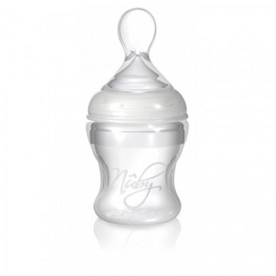 Бутылочка Nuby силиконовая с ложечкой для кормления от 4 мес. 150 мл 67275
