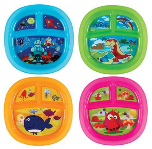 Munchkin Тарелка детская с разделителями для порцийТарелка детская с разделителями для порцийТарелочка с разделителями имеет нескользящее дно и предназначена для уменьшения беспорядка во время кормления малыша.  яркий красочный дизайн нравится малышу подходит для использования в микроволновой печи можно мыть на верхней полке в посудомоечной машине дизайн тарелок в ассортименте  в комплекте 1 тарелка возраст 6+<br>