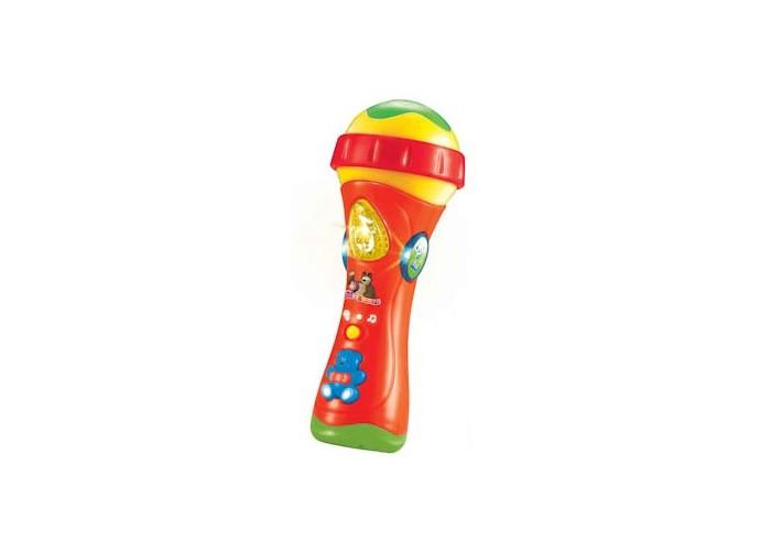 Музыкальная игрушка Играем вместе Микрофон Маша и МедведьМикрофон Маша и МедведьИграем вместе Микрофон Маша и Медведь позволит не только весело проводить время, но и разовьет музыкальный слух малыша, его творческие способности и привьет любовь к музыке. Микрофон выполнен из яркого красного пластика и украшен разноцветными кнопками, управляющими его функциями.   Особенности:    свет  5 функций  10 мелодий  голоса животных  диск диджея<br>