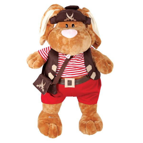 Мягкие игрушки Gulliver Сидячий коричневый кролик Пират