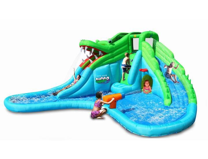Надувные батуты Happy Hop Надувная горка с водой Крокодил 9517