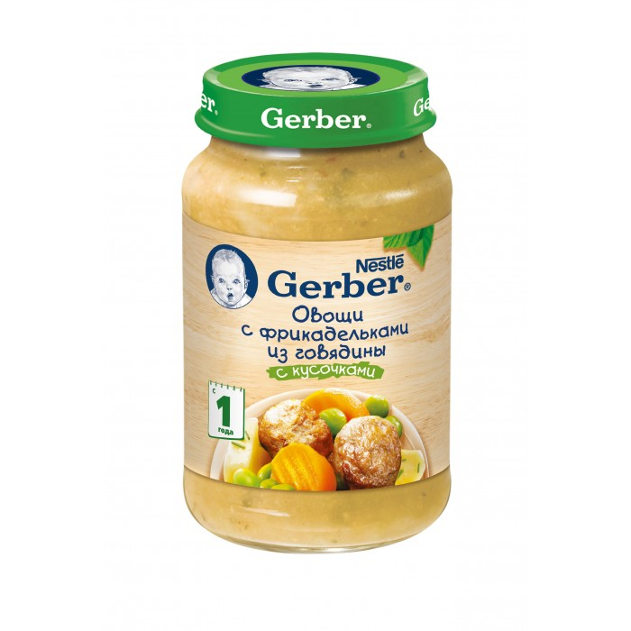 Gerber Пюре DoReMi Овощи с фрикадельками из говядины с 12 мес., 200 гПюре DoReMi Овощи с фрикадельками из говядины с 12 мес., 200 гПюре «Gerber» овощи с фрикадельками из говядины предназначено для питания детей в возрасте от 12 месяцев.  Пюре содержит кусочки говядины, мелко порезанный картофель и морковь. Говядина — ценный источник белка и железа. Белок является основой для построения новых клеток и тканей, играет важную роль в синтезе антител, которые защищают ребенка от различных микроорганизмов и вирусов. Являясь частью многих гормонов и ферментов, белок способствует повышению уровня гемоглобина в крови.   Морковь является источником витамина А, который необходим для нормального роста ребенка и развития зрения. Недостаток витамина А влияет на состояние кожи и слизистых оболочек органов. Бета-каротин, антиоксиданты, минералы и пищевые волокна играют важную роль в полноценном развитии организма. Мягкое закрепляющее свойство моркови нормализует стул ребенка. Питательные свойства картофеля дадут ребенку силы для познания окружающего мира.  Пюре не содержит красителей, консервантов, ароматизаторов, генетически модифицированных компонентов.  Состав: картофель, морковь, фрикадельки из говядины, пастернак, лук, зеленый горошек, кукурузный крахмал (2%), растительные масла, сливки, поваренная соль (0.2%), базилик, белый перец, вода  Пищевая ценность на 100 г: Углеводы - 9.1 г Белки - 2.6 г Жиры - 2.6 г Энергетическая ценность - 70 ккал/290 кДж  Срок хранения: 2 года Хранить при температуре от 0 до 25°С После вскрытия банку хранить в холодильнике не более суток.  Gerber® предлагает широкий ассортимент блюд из натуральных овощей и мяса для детей от 1 года, содержащие смесь растительных масел, в состав которых входят незаменимые жирные кислоты Омега 3 и Омега 6, которые не синтезируются в организме и могут поступать только с пищей.   Растительно-мясное пюре Овощи с фрикадельками из говядины Gerber® DоRеMi® может служить полноценным обедом/ужином для здоровых детей в этом воз
