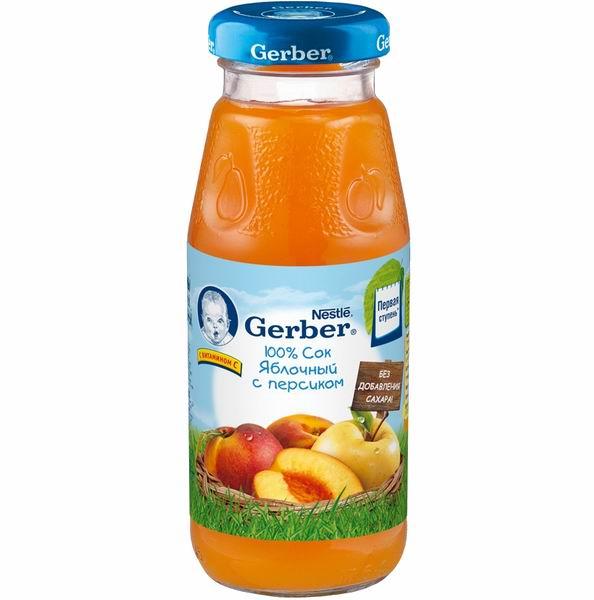 Gerber Сок Яблочный с персиком с 5 мес., 175 млСок Яблочный с персиком с 5 мес., 175 млСок «Gerber» яблочный с персиком предназначен для питания детей в возрасте от 5 месяцев.  В яблочном соке содержатся органические кислоты, которые имеют особое значение для детей первого года жизни. Пектин благоприятно влияет на работу желудочно-кишечного тракта, способствуя процессу пищеварения.   Персик богат калием, витаминами В1, В2, РР и С, минеральными солями, которые благотворно влияют на работу внутренних органов. Каротин провитамин А способствует росту. Персики стимулируют рост и укрепляют иммунитет. Сочетание соков повышает иммунитет и активизирует обменные процессы в организме.  Сок не содержит сахара, консервантов, красителей и искусственных добавок.  Состав: восстановленный яблочный сок (72,1 %), пюре из персиков (27 %), витамин C. Изготовлен из концентрированного сока.  Пищевая ценность на 100 г: Углеводы - 10 г Белки - 0.3 г Жиры - 0.1 г Энергетическая ценность - 42 ккал/176 кДж  Срок хранения: 18 месяцев Хранить при температуре от 0 до 25°С После вскрытия бутылочку хранить в холодильнике не более суток.  Идеальной пищей для грудного ребенка является молоко матери. Всемирная организация здравоохранения рекомендует исключительно грудное вскармливание в первые шесть месяцев и последующее введение прикорма при продолжении грудного вскармливания.  Компания Нестле поддерживает данную рекомендацию. Для принятия решения о сроках и способе введения данного продукта в рацион ребенка необходима консультация специалиста. Возрастные ограничения указаны на упаковке товаров в соответствии с законодательством РФ.<br>