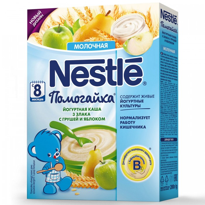 Nestle Каша Помогайка йогуртная 3 злака с грушей и яблоком с 8 мес. 200 г