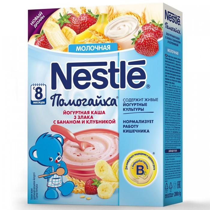 Nestle Каша Помогайка йогуртная 3 злака с бананом и клубникой с 8 мес. 200 г