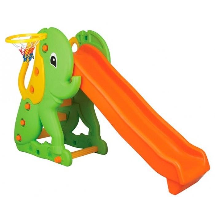 Горка Pilsan Elephant Slide с баскетбольным кольцомElephant Slide с баскетбольным кольцомPilsan Горка Слон - простая конструкция горки из прочного пластика для детей от 1 до 5 лет. Быстро собирается и легка в установке. Благодаря компактным размерам может быть установлена в помещении.  Эргономичная форма горки с прямым спуском обладает приятными внешними данными. Спуск имеет объемные боковые бортики, предотвращающие вылет ребенка за пределы горки. Сбоку имеется баскетбольное кольцо.  Крепкая и устойчивая конструкция выполнена из легкого и прочного пластика, поэтому безопасна, и пригодна для установки на любой поверхности.  Предназначена для детей от 1 года Гладкое, единое полотно горки Ступеньки с противоскользящими насечками Устойчивое основание Конструкция горки выполнена из легкого и прочного пластика Горка безопасна, и пригодна для установки на любой поверхности Разбирается и занимает мало места  Размеры: 93х114х182 см<br>
