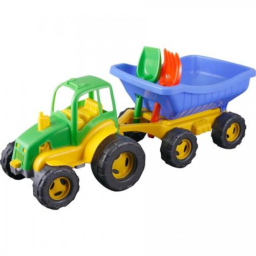 Pilsan Мини-трактор с прицепомМини-трактор с прицепомМини-трактор Pilsan с прицепом - красочная машинка для множества разнообразных интересных игр. Трактор позволяет загрузить в кузов песок или мелкие предметы, а лопатка и грабли дают возможность формировать из песка всевозможные фигурки.   Трактор позволит ребенку выучить основные цвета, разовьет координацию движений и образное мышление. Игрушка имеет восемь больших рельефных колес и откидывающийся кузов.   Максимальная нагрузка 5 кг. Модель имеет большие рельефные пластиковые колеса, которые отличаются легким ходом даже по песку.  В наборе трактор с прицепом, лопата, грабли Материал: прочный пластик. Размеры: 27х72х30 см.  Цвета в ассортименте.  Компания Pilsan начала свою историю в 1942 году. Сегодня – это компания-гигант индустрии крупногабаритных детских игрушек, которая экспортирует свою продукцию в 57 стран мира. Компанией выпускается 146 наименований продукции – аккумуляторные и педальные автомобили, велосипеды, развивающие игрушки и аксессуары для детей. Вся продукция Pilsan сертифицирована и отвечает международным стандартам качества.<br>