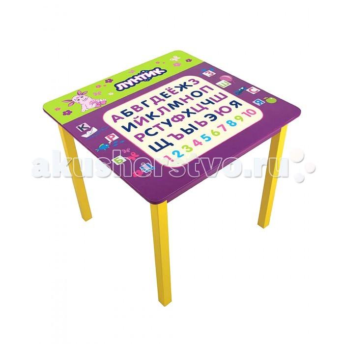 Gulliver Стол квадратныйСтол квадратныйGulliver Стол квадратный с изображением алфавита и цифр от 1 до 10. Учим алфавит и цифры вместе с Лунтиком и его друзьями.  Размеры: 60 х 60 х 53.5 см<br>