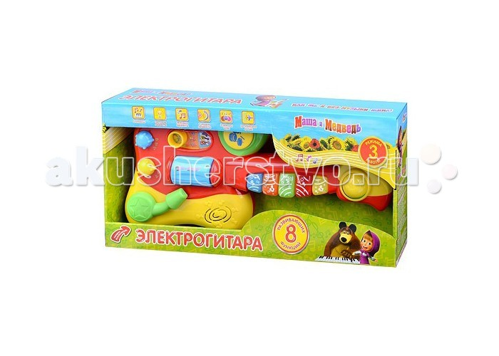Музыкальная игрушка Играем вместе Электрогитара Маша и медведь со светом