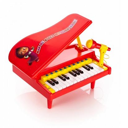 Музыкальная игрушка Играем вместе Электропианино Маша и медведь с микрофоном