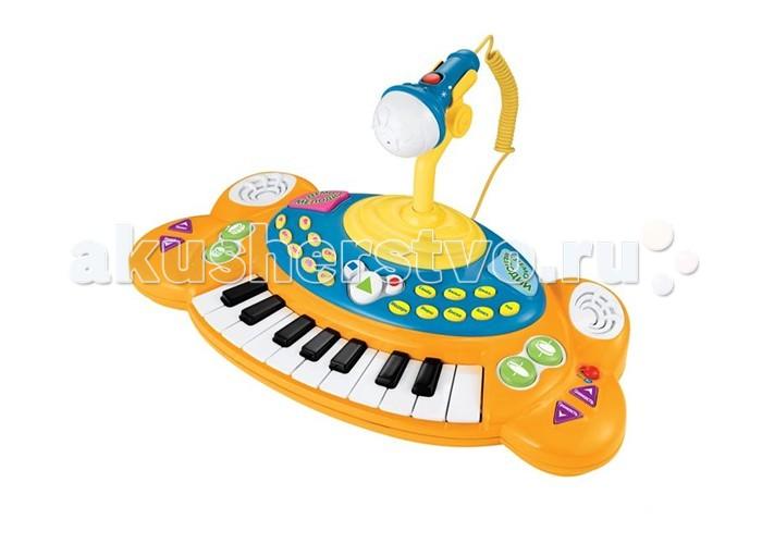 Музыкальная игрушка Играем вместе Электропианино Маша и медведь с микрофономЭлектропианино Маша и медведь с микрофономЭлектропианино Играем вместе Маша и медведь с микрофоном   Маленькое электропианино, оформленное в стиле мультфильма Маша и медведь понравится детишкам и отлично подойдет для знакомства с музыкальными инструментами. Пианино имеет функцию записи и воспроизведения, может проигрывать демо мелодии и имеет множество других возможностей. В комплекте также находится микрофон для вашей будущей звезды.   Особенности:    18 клавиш,   съемный микрофон,   звуковые эффекты,   8 ритмов,   4 варианта барабанной дроби,   6 демо мелодий,   регулировка темпа, ритма и громкости,   запись и воспроизведение,   8 видов музыкальных инструментов.<br>