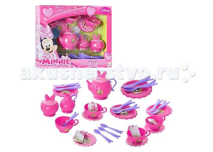 IMC toys Disney Набор посуды MinnieDisney Набор посуды MinnieIMC toys Disney Набор посуды Minnie превратит каждое кукольное чаепитие в праздник и очень понравится вашей малышке. Посуда оформлена изображениями героев из любимого мультфильма.   В наборе Ваша малышка найдет всё, что нужно для дружеского чаепития: чашки, ложки, маленькие и большие тарелочки, вилки, ножи, чайные пакетики, сахарницу, молочный кувшин и чайник.<br>