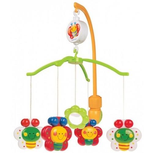 Мобиль Canpol Бабочки с зеркальцем 2/172Бабочки с зеркальцем 2/172Музыкальная игрушка карусель Бабочки Canpol 2/172 с зеркальцем.  Музыкальная карусель крепится на кроватку.  Красочные пластиковые игрушки-погремушки привлекают внимание ребенка, развивают его зрение и координацию движений.  Приятная мелодия музыкальной шкатулки успокаивает ребенка и помогает ему заснуть.   Карусель легко содержать в чистоте. Идеально подходит малышам, страдающих аллергией.  Вы можете отсоединить любимые фигурки и дать их малышу для игры, когда малыш подрастет.<br>