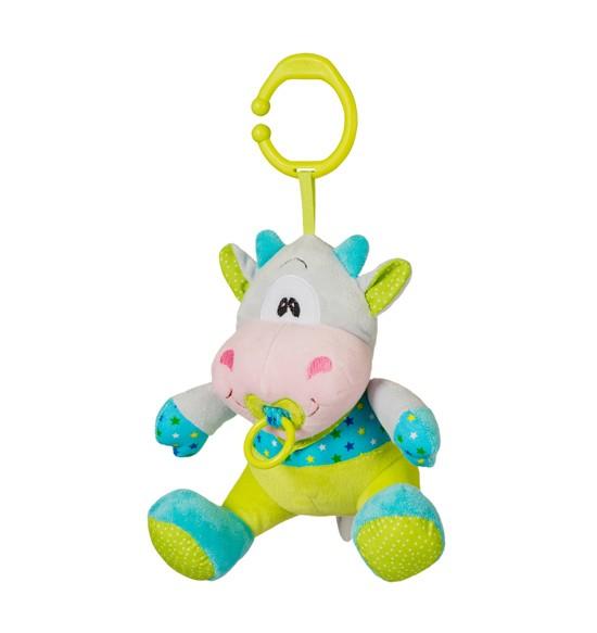 Подвесная игрушка BabyOno Игрушка подвеска baby cow музыкальнаяИгрушка подвеска baby cow музыкальнаяИгрушка подвеска baby cow музыкальная  Очаровательная игрушка-подвеска Baby cow подарит Вашему малышу массу незабываемых эмоций и сотни улыбок! Игрушка сделана из мягкой, приятной на ощупь ткани, поэтому ребенку не захочется с ней расставаться!  Особенности игрушки: выполнена из высококачественных материалов; оснащена звуковыми элементами; прочное кольцо, за которое можно повесить игрушку в любом месте; интересный дизайн и яркие цвета стимулируют малыша к игре. Пользоваться подвеской очень просто: нужно легонько потянуть за пустышку - тогда заиграет приятная мелодия.  Польза от игры с подвеской: малыш будет развивать память и внимание, визуальное восприятие, у него выработается реакция на звук; усовершенствуются тактильные ощущения, мелкая моторика рук (в том числе такие движения, как захват и удерживание предмета); наблюдая за игрушкой, малютка учится концентрироваться и фокусировать взгляд на объекте; различные цвета стимулируют развитие зрительных способностей и цветового восприятия.<br>