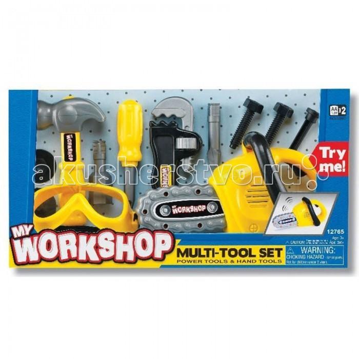 Keenway Набор инструментов 12765Набор инструментов 12765Набор инструментов от Keenway – лучший выбор для юного мастера.  Набор инструментов (защитные очки, электропила, молоток, инструменты) от Keenway станет для маленького мастера находкой, ведь все инструменты выглядят очень реалистично, точь-в-точь как у папы. Это замечательные игрушки для мальчиков, с помощью которых можно отремонтировать не только свои машины и самолеты, но и помочь папе во «взрослом» ремонте.  В наборе есть все необходимые инструменты для маленького помощника.   В комплект входят: бензопила, защитные очки размером 13 см, отвертка, молоток, разводной ключ, 2 комплекта гаек и болтов.  Бензопила в наборе оснащена механическим и звуковым эффектом: при нажатии на рычаг она начинает двигаться и издает характерный звук работы. Для отвертки предназначены две сменные насадки под разную резьбу болтов.   Разводной ключ оснащен колесиком для регулировки под любой размер гаек. Все инструменты сделаны как раз для детских рук: легкие и с удобными рукоятками.  Маленькие дети любят тематические игры, и этот набор инструментов окажется как интересным, так и полезным.   Благодаря нему у ребенка развивается воображение, моторика, логика, глазомер, также он постигает основы причинно-следственных связей. Ведь не зря такие игровые наборы являются одними из самых популярных в мире.  В комплект к набору уже идут 2 батарейки размера 2АА.  Игрушка рекомендована для детей старше 3 лет.   Продукция сертифицирована, экологически безопасна для ребенка, использованные красители не токсичны и гипоаллергенны.<br>