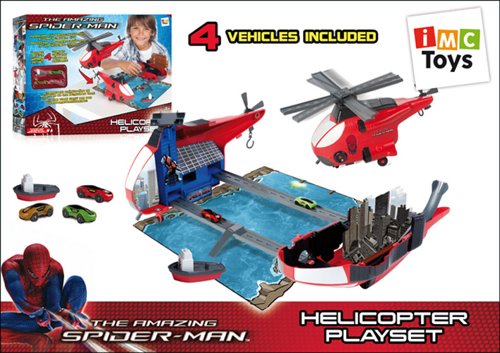 IMC toys Marvel набор Вертолет Spider-ManMarvel набор Вертолет Spider-ManIMC toys Marvel набор Вертолет Spider-Man - набор выполнен в стиле Человека-Паука. Представляет из себя вертолёт, который может трансформироваться в большое игровое пространство.  Раздвиньте вертолёт на две части, и вы получите разные берега реки с городскими постройками, авто-треком, тоннелем. Винты вертолёта используются как мосты.   Запускайте машинки по авто-треку на полной скорости!   В набор входят три маленькие машинки и катер.<br>