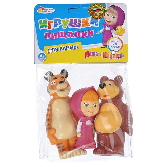 Играем вместе Набор для ванной Маша, медведь и тигрНабор для ванной Маша, медведь и тигрНабор для купания Играем вместе Маша, медведь и тигр непременно понравится вашему ребенку и превратит купание в веселую игру!   Игрушки выполнены из безопасного ПВХ.  Если сжать игрушки, раздастся веселый писк.  Оригинальный стиль и великолепное качество исполнения делают этот набор чудесным подарком к любому празднику, а жизнерадостные образы представят такой подарок в самом лучшем свете.<br>
