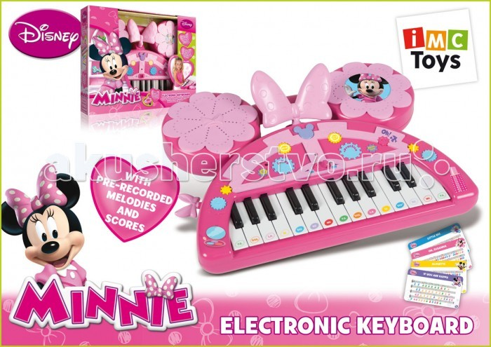 IMC toys Пианино Minnie с батарейкамиПианино Minnie с батарейкамиIMC toys Пианино Minnie с батарейками - электронное пианино станет для вашей девочки не просто игрушкой, а способом выражения.  Особенности: имитация шести музыкальных инструментов дают богатую палитру звуков шесть ритмов шесть звуков и тонов функция одна клавиша - одна нота записанная фраза из мульфильма возможность записи и воспроизведения.  У пианино имеется вставка для нотных карточек и ручка для переноски. Нотные карточки - в комплекте.  Пианино развивает мелкую моторику, слуховое восприятие, чувство ритма, а также Ваша малышка может попробовать себя в роли певицы или музыканта. С его помощью можно не только исполнять готовые мелодии, но и попытаться сочинить свои собственные.  Для работы пианино необходимо 4 батарейки вида AA.<br>