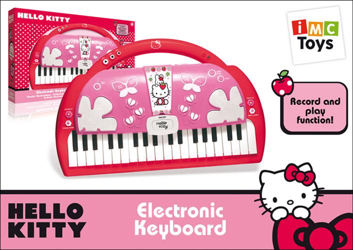 IMC toys Пианино Hello Kitty на батарейкахПианино Hello Kitty на батарейкахIMC toys Пианино Hello Kitty на батарейках - музыкальный талант нужно развивать с детства!  Увлекательная игрушка с различными звуковыми эффектами и множеством вариантов для создания первых детских мелодий. Модель выполнена в виде модной сумочки в стиле известной японской кошечки, чем непременно привлечет внимание каждой девочки.   Инструмент имеет кнопки для записи и воспроизведения созданных мелодий, а также возможность подключения микрофона.  Для работы пианино необходимо 4 батарейки вида AA.<br>