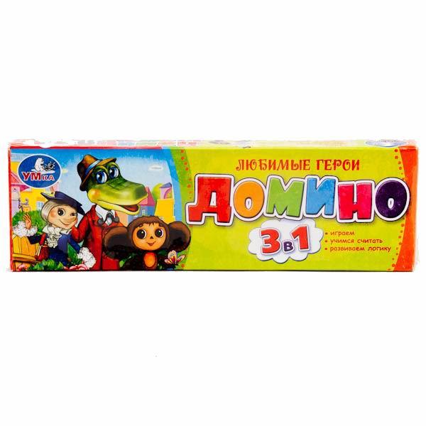 Умка Домино пластмассовое 3 в 1 Чебурашка