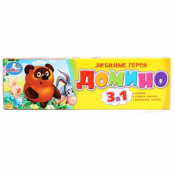 Умка Домино пластмассовое 3 в 1 ВинниДомино пластмассовое 3 в 1 ВинниВсеми любимая игра Домино в новом формате!   Изучайте цифры, развивайте логику и конечно играйте с героями любимых мультфильмов.<br>