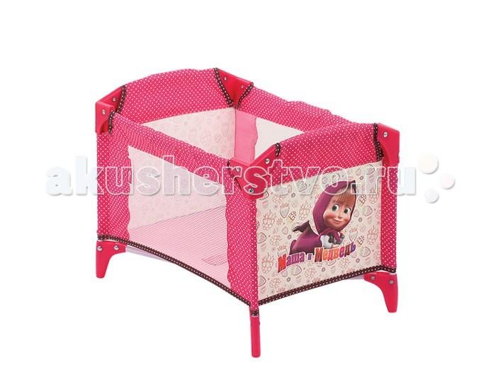 Кроватка для куклы Маша и Медведь МанежМанежКроватка для куклы Маша и Медведь Манеж имеет прочный каркас с пластиковыми элементами, обтянутый тканью ярких расцветок.<br>