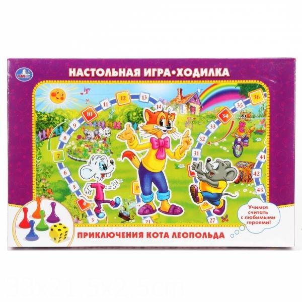 Игры для школьников Умка Настольная игра-ходилка Приключения кота Леопольда