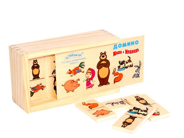 Деревянные игрушки Маша и Медведь Домино