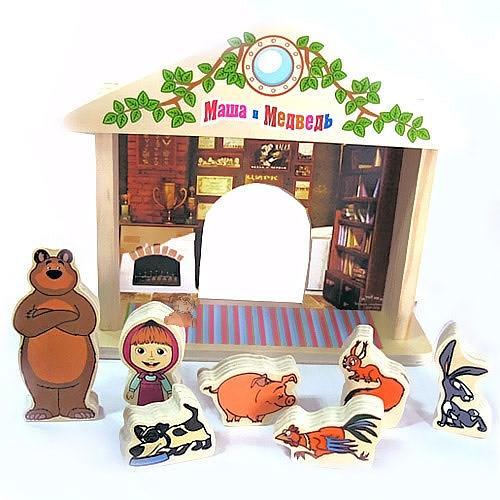 Деревянная игрушка Маша и Медведь Игра-логикаИгра-логикаДеревянная игрушка Маша и Медведь Игра-логика предназначена для детей в возрасте от года.   Особенности: Состоит из домика, фигурок Маши, Медведя, а также Собачки, Поросенка, Петушка, Белочки и Зайчика.  Изготовлена из экологически чистой древесины.  Используется для сюжетно-ролевых игр.  Ребенку предлагается придумывать и разыгрывать истории, которые могли бы случиться с персонажами известного мультфильма.<br>