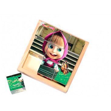 Деревянная игрушка Маша и Медведь Кубики 9 шт.