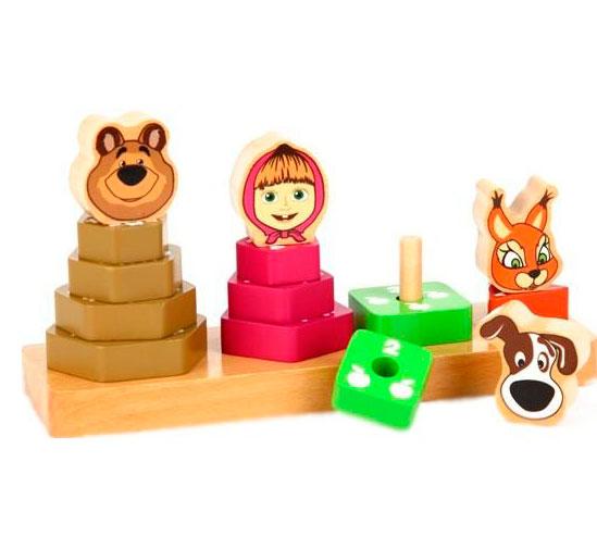 Деревянная игрушка Маша и Медведь ПирамидкиПирамидкиДеревянная игрушка Маша и Медведь Пирамидки помогает развивать логику и мышление, а так же мелкую моторику. Во время игры малыш узнает новые цвета и различает формы.<br>