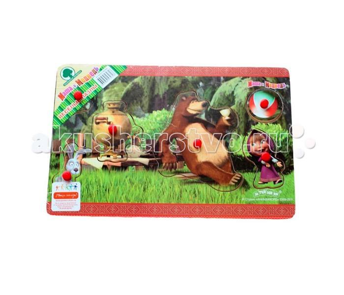 Деревянная игрушка Маша и Медведь Пазл 6 деталей