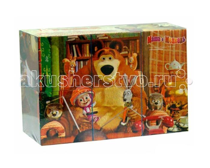 Деревянная игрушка Маша и Медведь Кубики 6 шт.