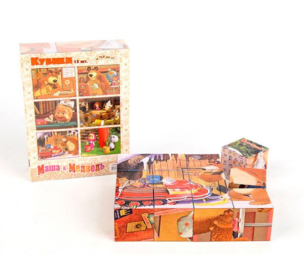 Деревянная игрушка Маша и Медведь Кубики Маша и ее друзья 9 шт.