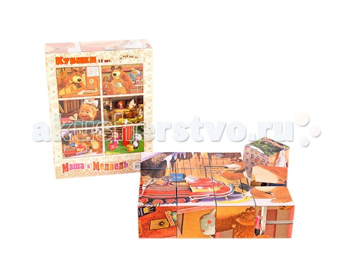Деревянные игрушки Маша и Медведь Кубики Маша и ее друзья 12 шт.