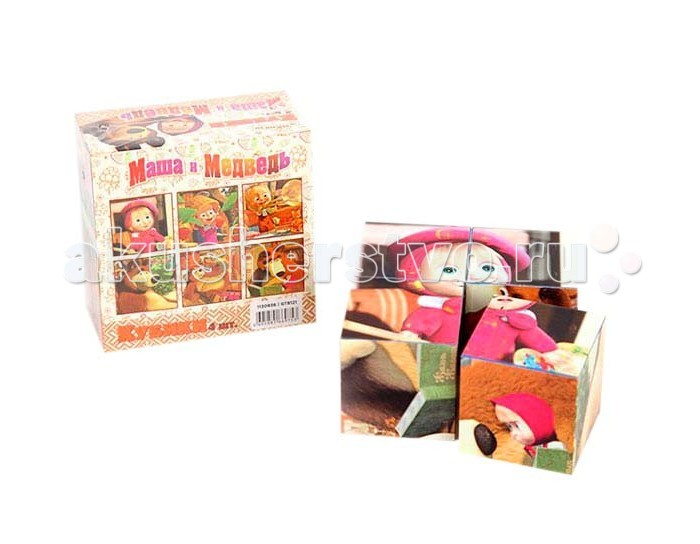 Деревянная игрушка Маша и Медведь Кубики Маша и ее друзья 4 шт.
