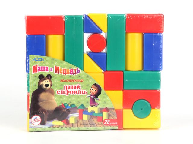 Конструкторы Маша и Медведь Давай строить! 28 деталей